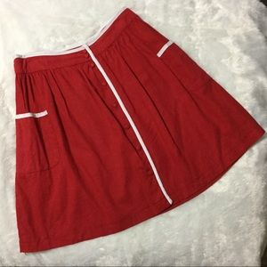 Red button front linen skirt